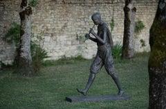 Flute Player II by Marine de Soos - Large Outdoor Bronze Sculpture, Human Figure