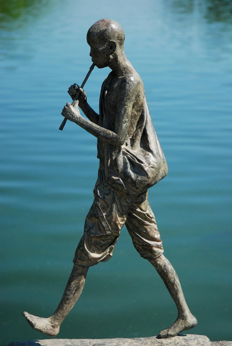 Flute Player, Large Outdoor Bronze Sculpture For Sale 1