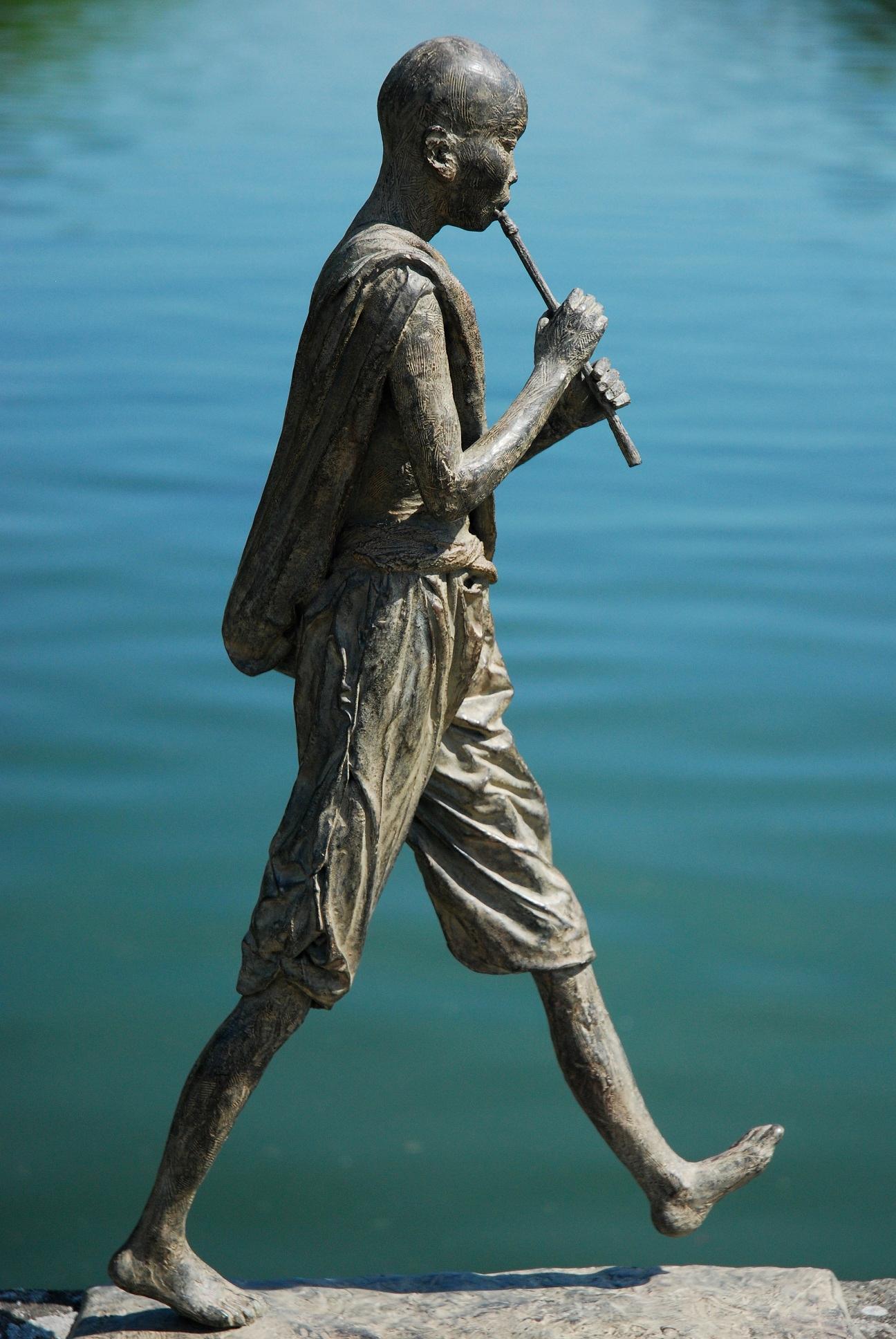 Flute Player by Marine de Soos - Large Outdoor Bronze Sculpture, Human Figure