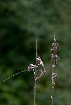Group of Two Fishermen on Stilt II - Bronze Sculpture