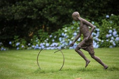 Hoop Rolling Boy, Large Outdoor Bronze Sculpture