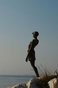 L'Attente (The Waiting Time) - bronze sculpture, standing figure
