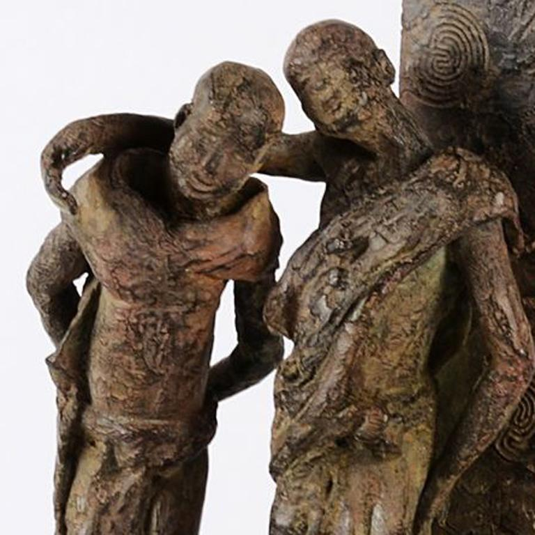 The Banks of the Irrawaddy River, Two Friends Bronze Sculpture - Gold Figurative Sculpture by Marine de Soos