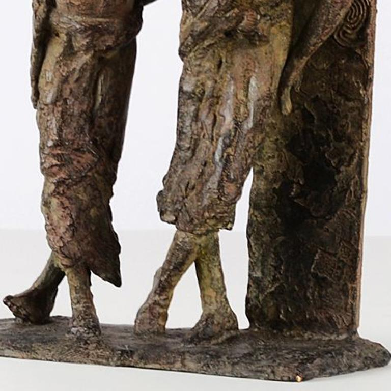 The Banks of the Irrawaddy River is a bronze sculpture by French contemporary artist Marine de Soos, representing two Burmese young men sharing a moment of friendship.  Each of Marine de Soos' sculptures has its story, being a memory of a real