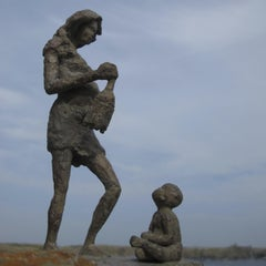 Woman with a Lantern, Mother and Child Bronze Sculpture