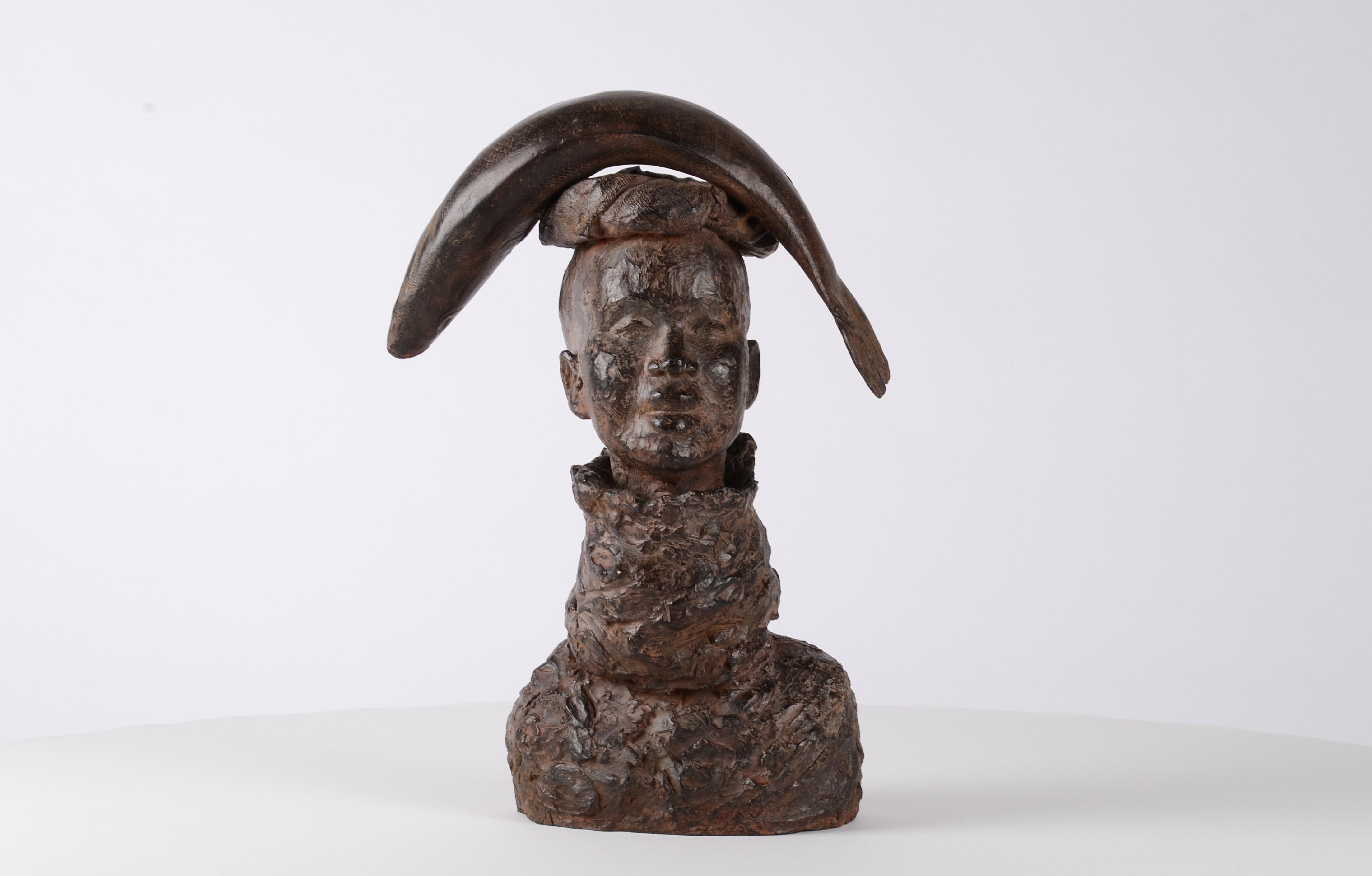 Woman with Fish - bronze sculpture