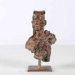 Young Lama - bronze sculpture, male portrait