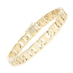 Mariner Chain Bracelet, 14 Karat Yellow Gold Anchor Italian Men's Gift