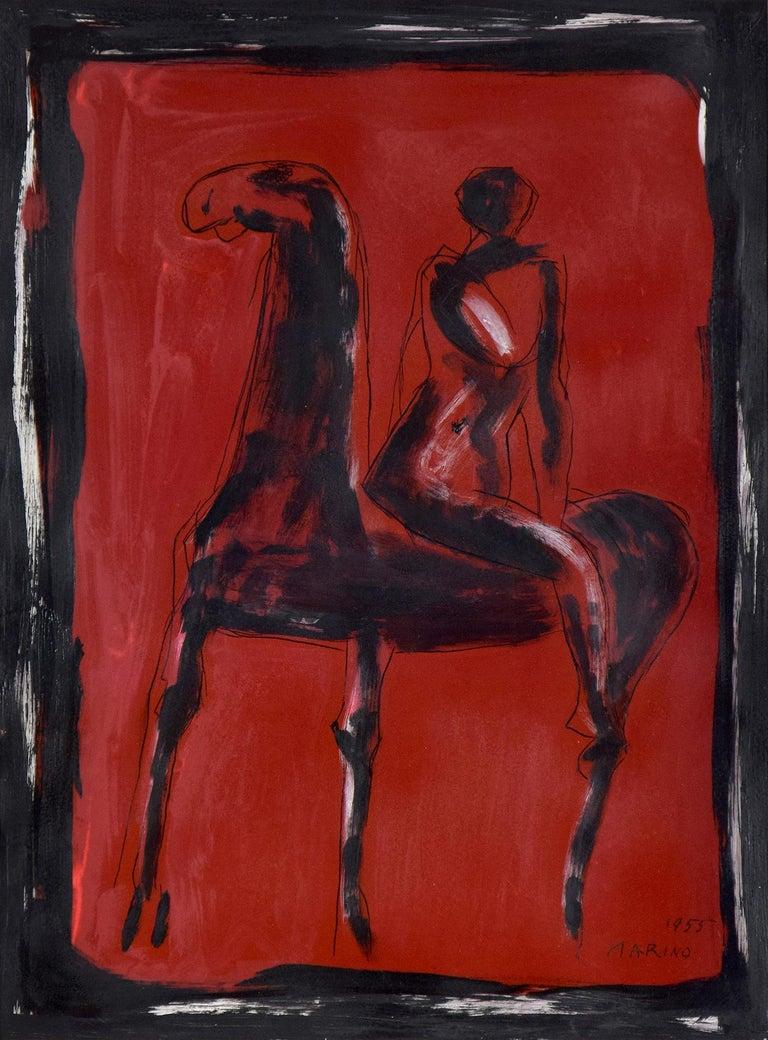 Cavallo e Cavaliere by MARINO MARINI - horse painting, Modernism, horse & rider - Painting by Marino Marini