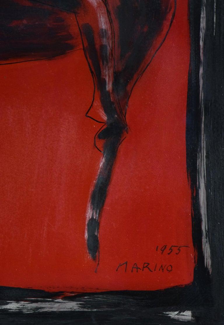 Cavallo e Cavaliere by MARINO MARINI - horse painting, Modernism, horse & rider - Black Animal Painting by Marino Marini