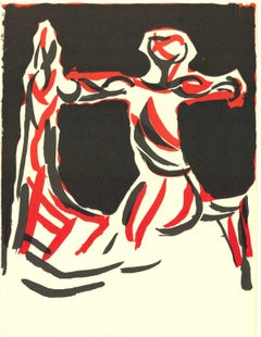 1967 Marino Marini 'Cavalier' Modernism Brown,Red,White,Black Lithograph