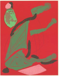 1970 Marino Marini 'XXe Siecle no 35' Modernism Green,Red,Pink,Brown Lithograph