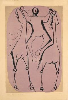 Cheveaux et Jongleur - Original Lithograph by Marino Marini - 1951