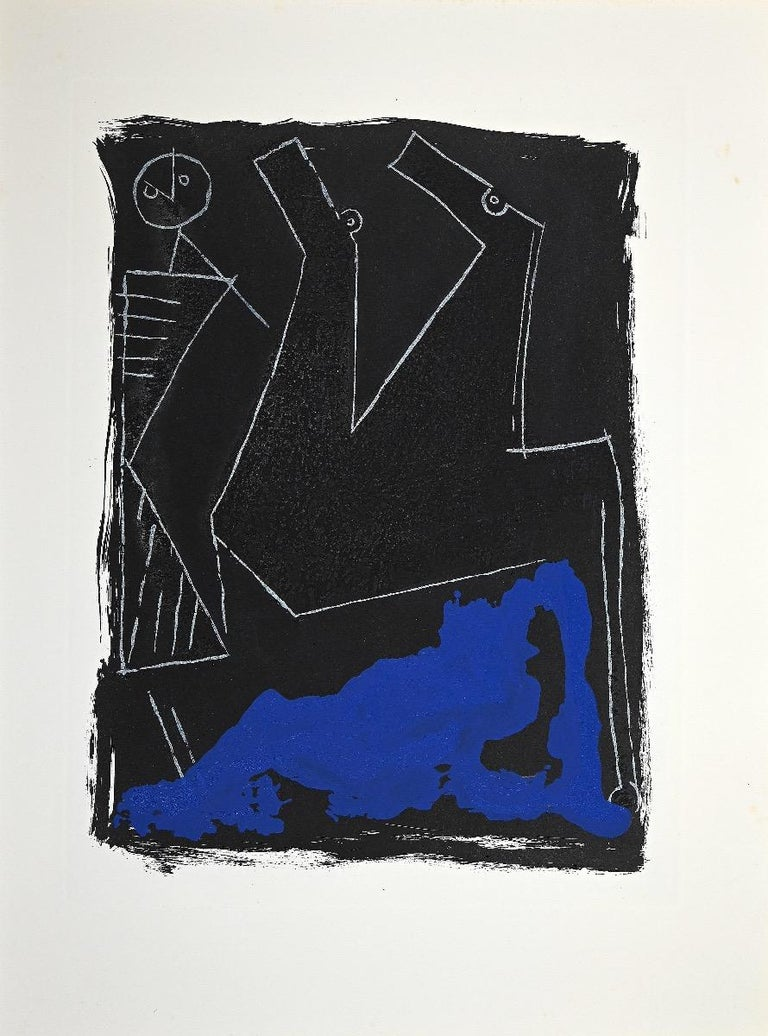 Horses 1963 is an original contemporary artwork realized by Marino Marini.  Color etching and aquatint.  Edition of 100 copies. On the back oh the artwork there is an inscription in china ink.  Unsigned and unnumbered, as issued.  Marino Marini