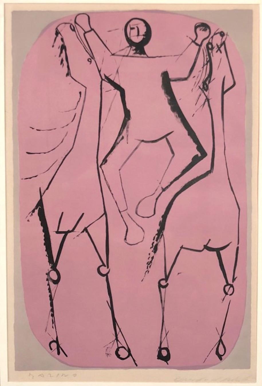 Jugglers - Chevaux et Jongleur - Original Lithograph by Marino Marini - 1951