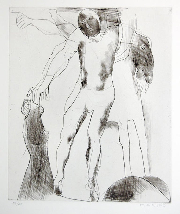 """Image dimensions: 35.7x30 cm Hand signed and numbered. Edition of 65 prints. Technique: etching and drypoint. Original title """"Giocolieri"""". This work is plate VII from the Portfolio """"Marino Marini Gravures"""" published by Crommelynck in 1970. Ref: G."""