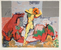 Orfeo, Abstract Lithograph of Horse and Rider