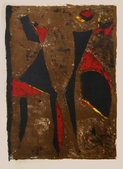 Red Knight on Brown Background - Original Lithograph by Marino Marini - 1961