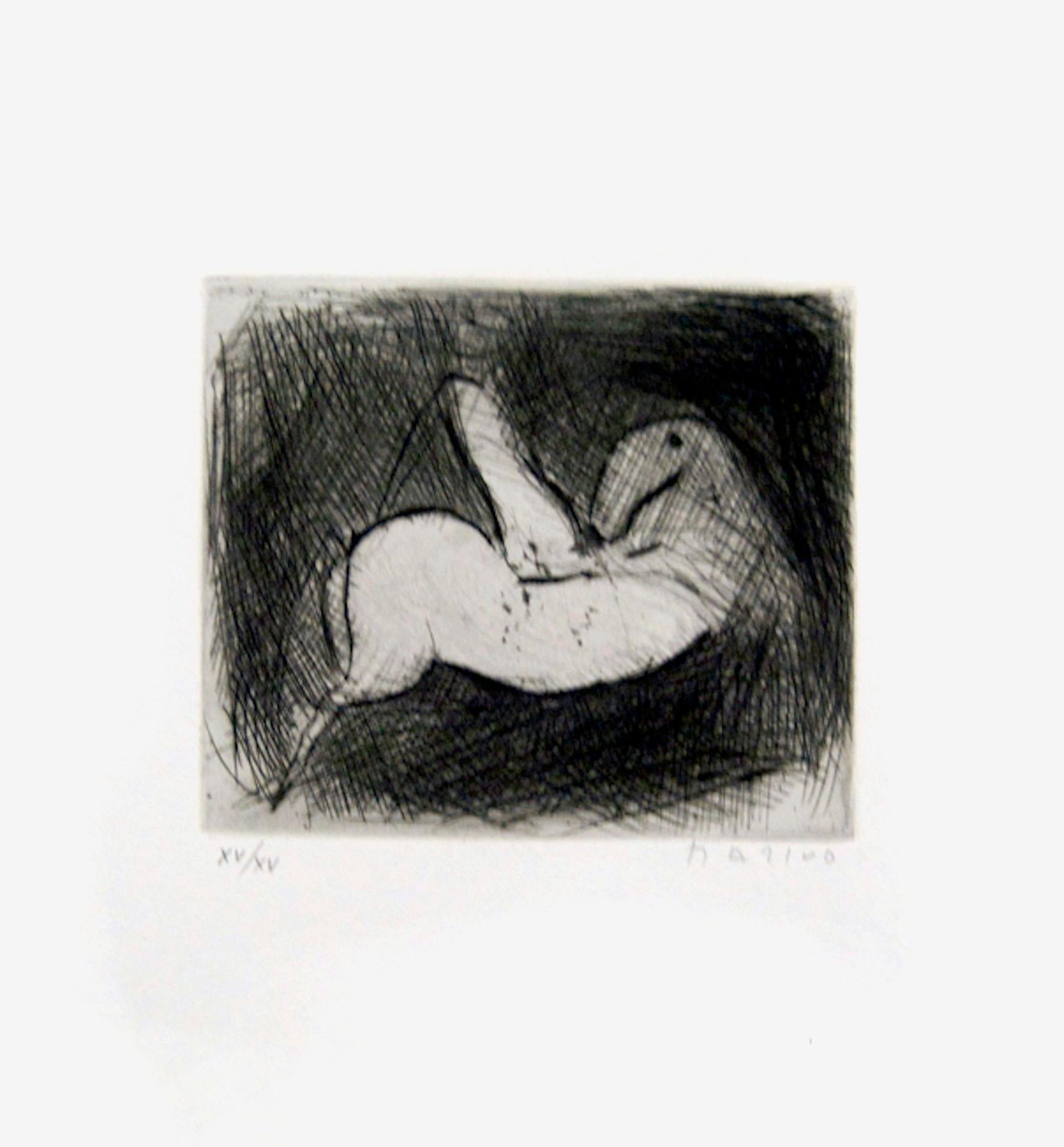 Small Knight - Original Etching by Marino Marini - 1950