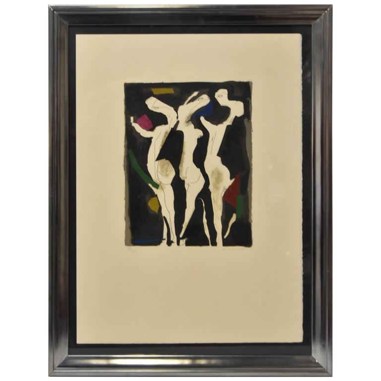 Marino Marini Signed Lithograph 18/50 1973 Le Sacre Du Printemps Three Graces For Sale
