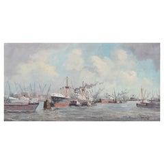 "Marinus Johannes De Jongere Oil on Canvas ""Ships at a Bustling Port"""