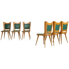Set of Six Italian Wooden Dining Chairs with Green Upholstery, 1950