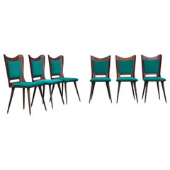Mario Asnago Set of Six Wooden Dining Chairs with Green Upholstery, 1950s