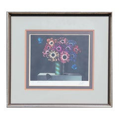 """""""Anemones & Papillons"""" Colorful Modern Floral Still Life with Butterflies"""