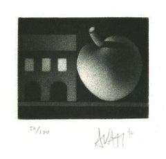 Apple and House - Original Etching on Paper by Mario Avati - 1970s