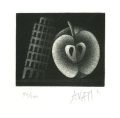 Apple and Tower - Original Etching on Paper by Mario Avati - 1960s