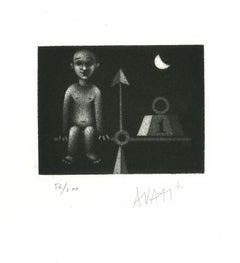 Balance - Original Etching on Paper by Mario Avati - 1960s