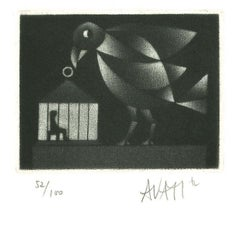 Bird and Cage - Original Etching on Paper by Mario Avati - 1970s