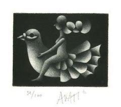 Bird Rider - Original Etching on Paper by Mario Avati - 1970s