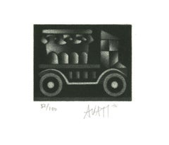 Blowing - Original Etching on Paper by Mario Avati - 1970s