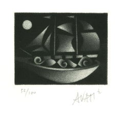 Boat - Original Etching on Paper by Mario Avati - 1970s