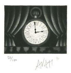 Clock - Original Etching on Paper by Mario Avati - 1970s