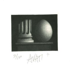 Column and Egg - Original Etching on Paper by Mario Avati - 1960s