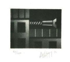 Construction - Original Etching on Paper by Mario Avati - 20th Century