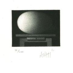 Desk - Original Etching on Paper by Mario Avati - 1960s