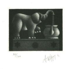 Elephant - Original Etching on Paper by Mario Avati - 1970s
