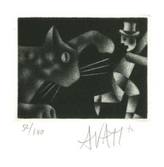 Escaping Man and Cat - Original Etching on Paper by Mario Avati - 1970s