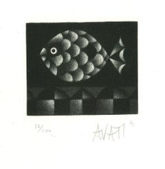 Fish - Original Etching on Paper by Mario Avati - 1960s