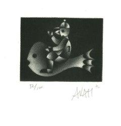 Fish Rider - Original Etching on Paper by Mario Avati - 1970s
