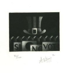 Hat - Original Etching on Paper by Mario Avati - 1960s