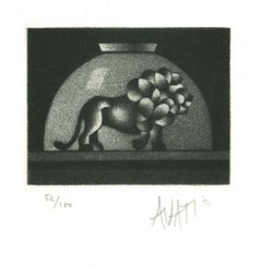 Lion in Bowl - Original Etching on Paper by Mario Avati - 1960s