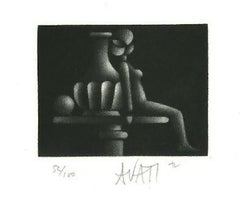 Nude - Original Etching on Paper by Mario Avati -1960s