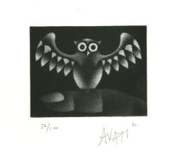 Owl - Original Etching on Paper by Mario Avati - 1960s
