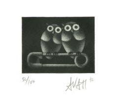 Owls on Brooch - Original Etching on Paper by Mario Avati - 1970s