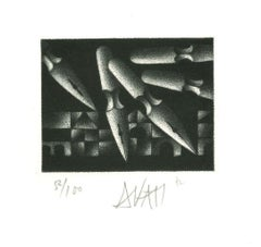 Pens - Original Etching on Paper by Mario Avati - 1970s
