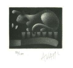 Rabbit - Original Etching on Paper by Mario Avati - 1970s